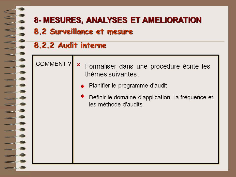 8- MESURES, ANALYSES ET AMELIORATION Formaliser dans une procédure écrite les thèmes suivantes : 8.2.2 Audit interne 8.2 Surveillance et mesure COMMEN