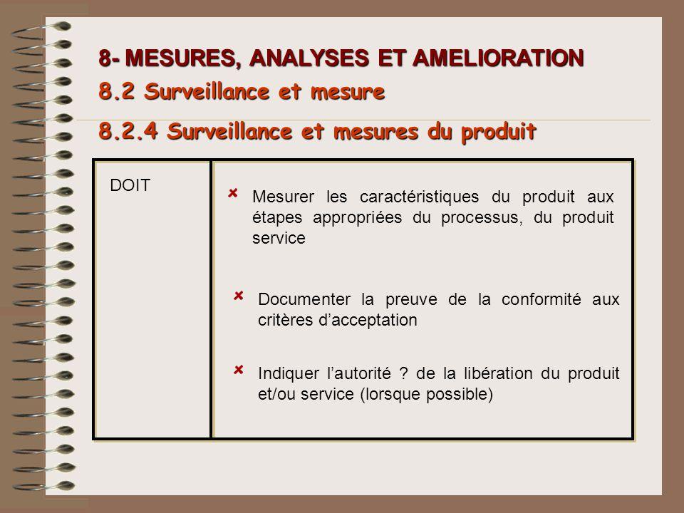 8- MESURES, ANALYSES ET AMELIORATION 8.2.4 Surveillance et mesures du produit 8.2 Surveillance et mesure DOIT Mesurer les caractéristiques du produit