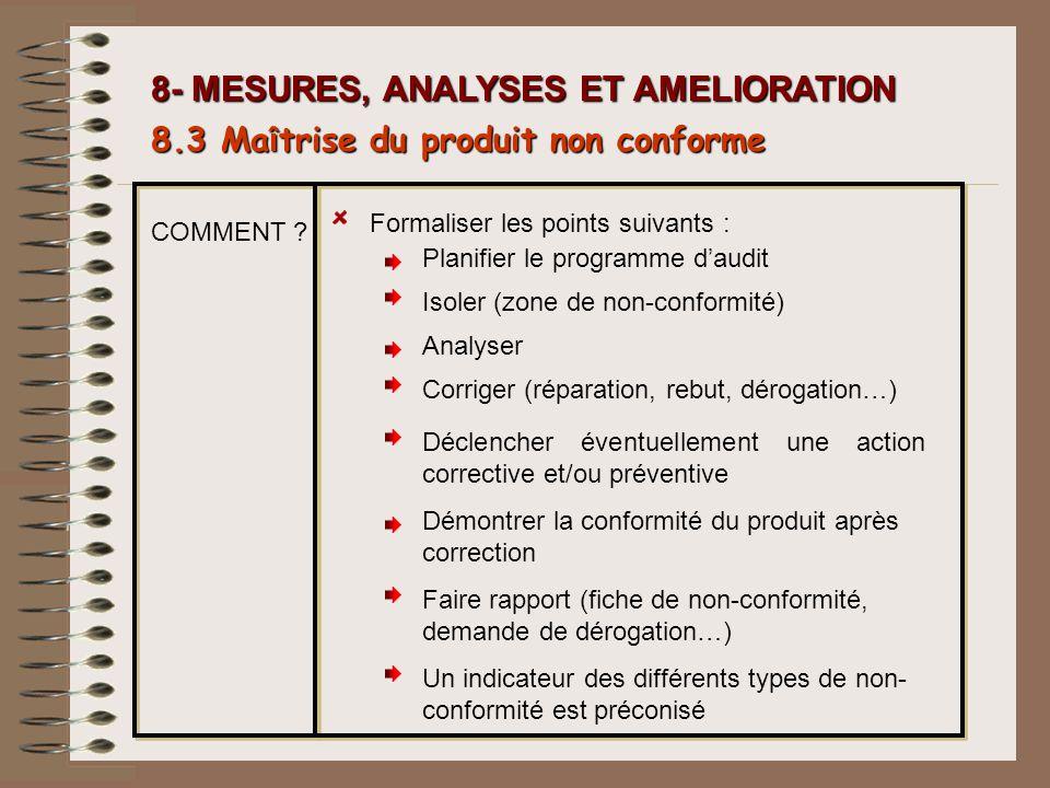 8- MESURES, ANALYSES ET AMELIORATION 8.3 Ma î trise du produit non conforme Formaliser les points suivants : Planifier le programme daudit Isoler (zon