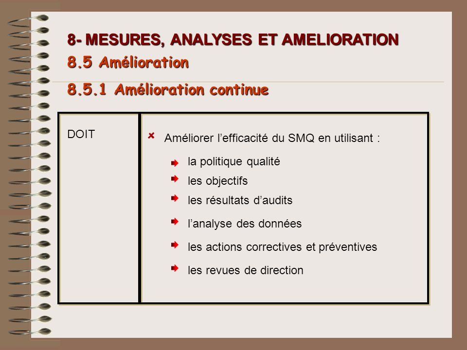 8- MESURES, ANALYSES ET AMELIORATION 8.5 Am é lioration Améliorer lefficacité du SMQ en utilisant : la politique qualité les objectifs les résultats d