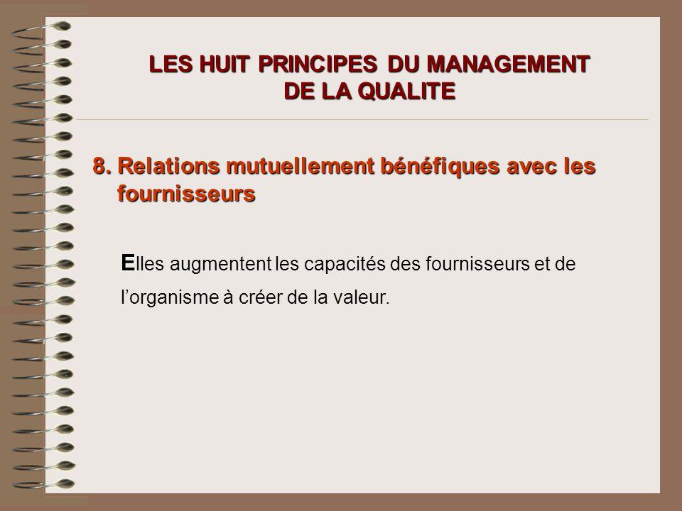 LES HUIT PRINCIPES DU MANAGEMENT DE LA QUALITE 8. Relations mutuellement bénéfiques avec les fournisseurs E E lles augmentent les capacités des fourni