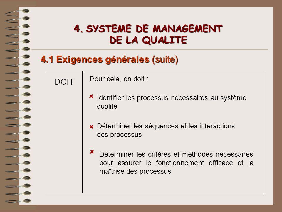 4. SYSTEME DE MANAGEMENT DE LA QUALITE 4.1 Exigences générales (suite) DOIT Pour cela, on doit : Identifier les processus nécessaires au système quali