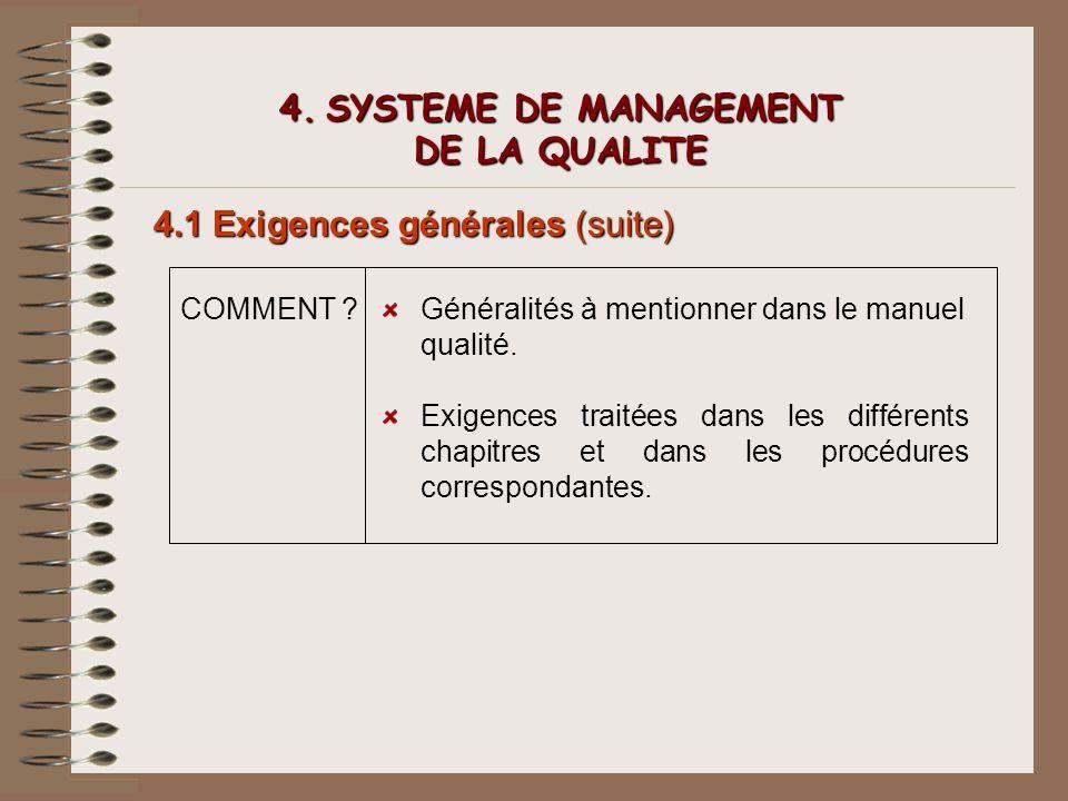 4. SYSTEME DE MANAGEMENT DE LA QUALITE 4.1 Exigences générales (suite) COMMENT ?Généralités à mentionner dans le manuel qualité. Exigences traitées da