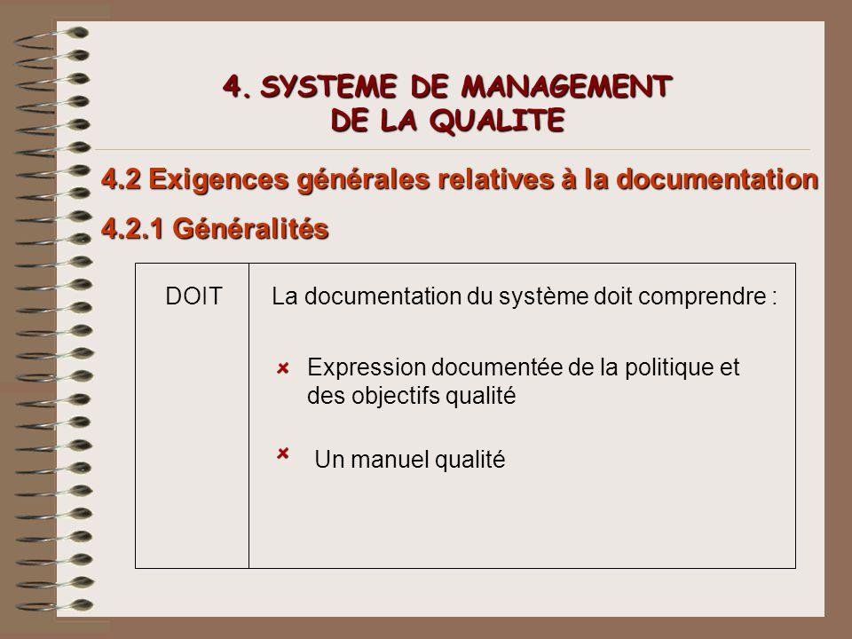 4. SYSTEME DE MANAGEMENT DE LA QUALITE 4.2 Exigences générales relatives à la documentation 4.2.1 Généralités DOITLa documentation du système doit com