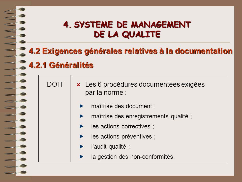 4. SYSTEME DE MANAGEMENT DE LA QUALITE 4.2 Exigences générales relatives à la documentation 4.2.1 Généralités DOITLes 6 procédures documentées exigées