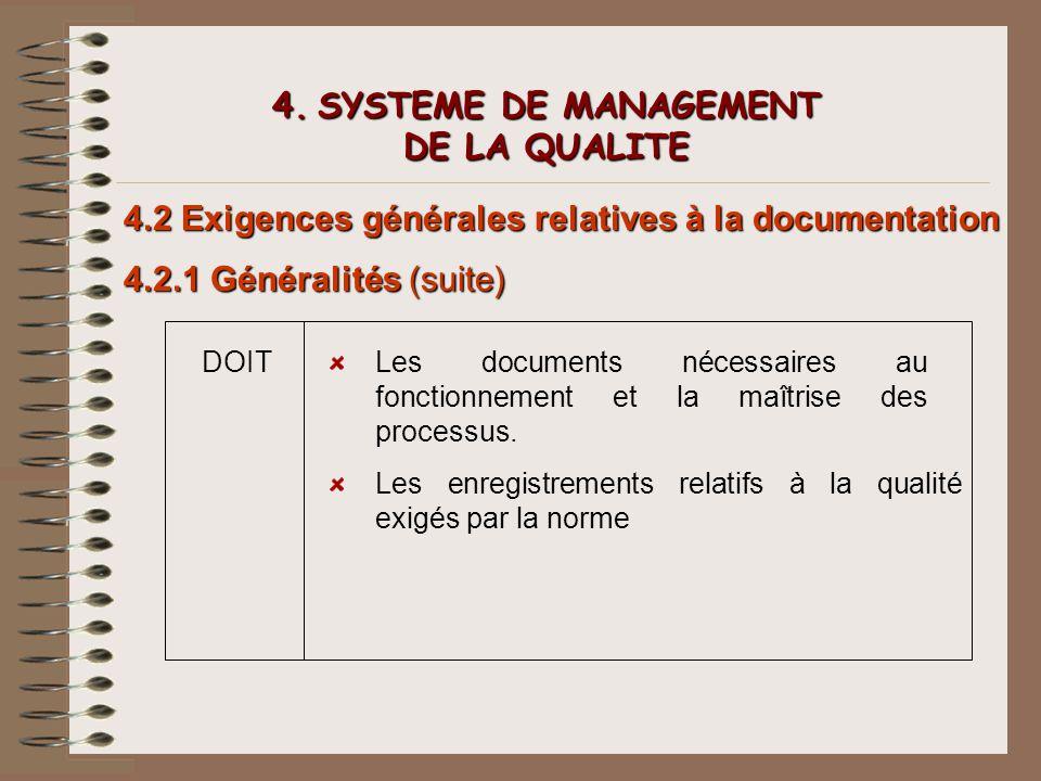 4. SYSTEME DE MANAGEMENT DE LA QUALITE 4.2 Exigences générales relatives à la documentation 4.2.1 Généralités (suite) DOITLes documents nécessaires au