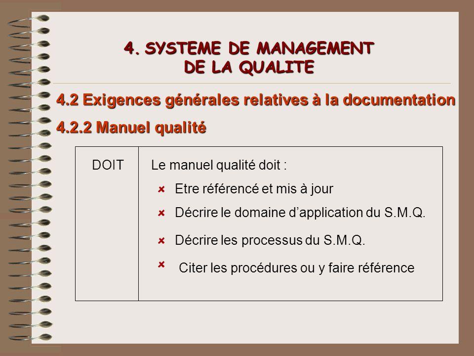 4. SYSTEME DE MANAGEMENT DE LA QUALITE 4.2 Exigences générales relatives à la documentation 4.2.2 Manuel qualité DOITLe manuel qualité doit : Etre réf