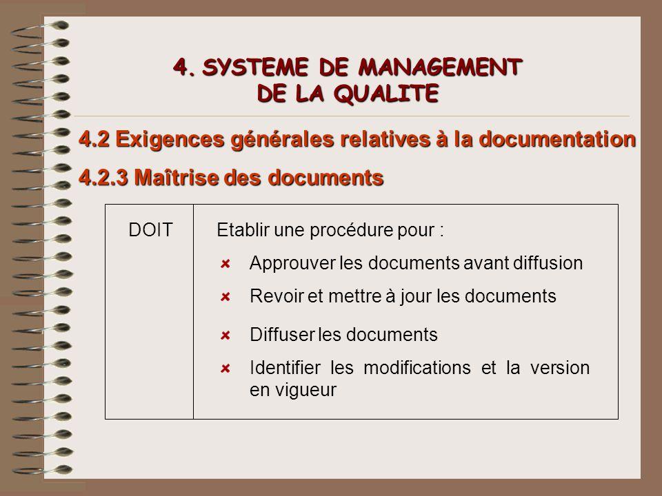 4. SYSTEME DE MANAGEMENT DE LA QUALITE 4.2 Exigences générales relatives à la documentation 4.2.3 Maîtrise des documents DOITEtablir une procédure pou