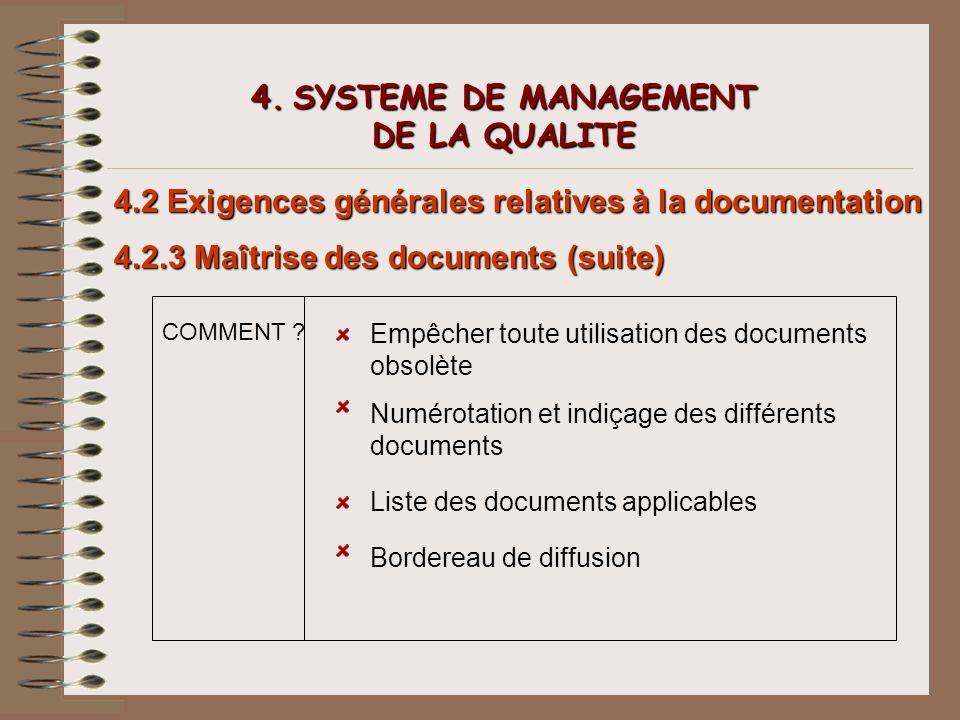 4. SYSTEME DE MANAGEMENT DE LA QUALITE 4.2 Exigences générales relatives à la documentation 4.2.3 Maîtrise des documents (suite) COMMENT ? Empêcher to