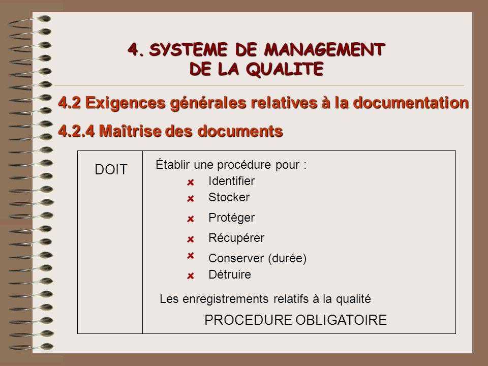 4. SYSTEME DE MANAGEMENT DE LA QUALITE 4.2 Exigences générales relatives à la documentation 4.2.4 Maîtrise des documents DOIT Établir une procédure po