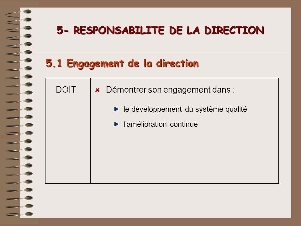 5- RESPONSABILITE DE LA DIRECTION 5- RESPONSABILITE DE LA DIRECTION 5.1 Engagement de la direction DOITDémontrer son engagement dans : le développemen