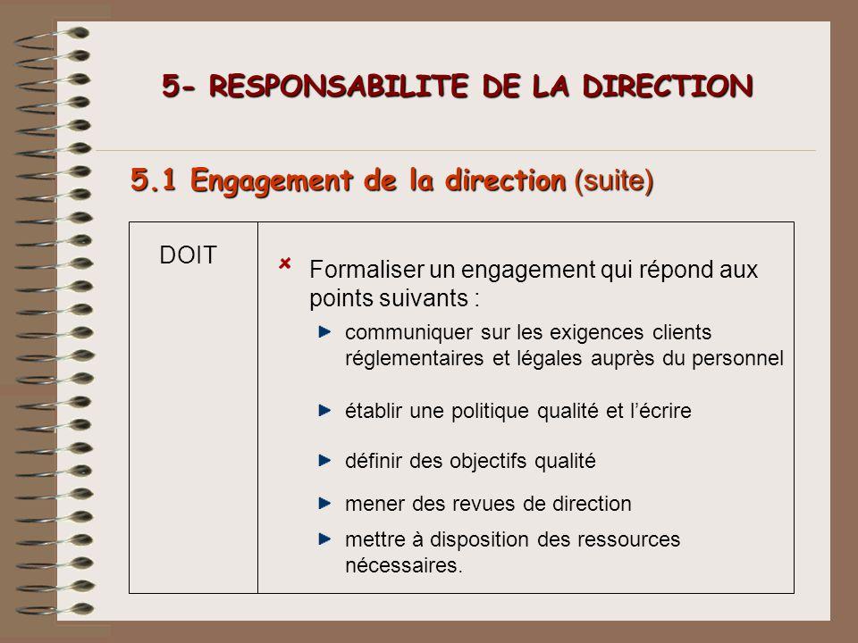 5- RESPONSABILITE DE LA DIRECTION 5- RESPONSABILITE DE LA DIRECTION 5.1 Engagement de la direction (suite) DOIT Formaliser un engagement qui répond au