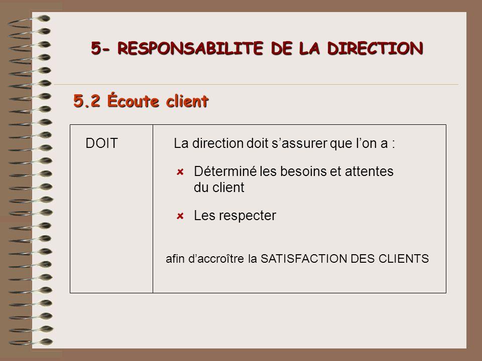 DOIT 5- RESPONSABILITE DE LA DIRECTION 5- RESPONSABILITE DE LA DIRECTION 5.2 É coute client La direction doit sassurer que lon a : Déterminé les besoi