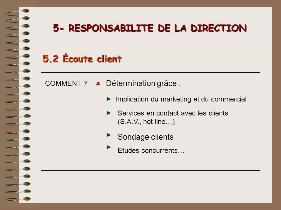 COMMENT ? 5- RESPONSABILITE DE LA DIRECTION 5- RESPONSABILITE DE LA DIRECTION 5.2 É coute client Détermination grâce : Implication du marketing et du