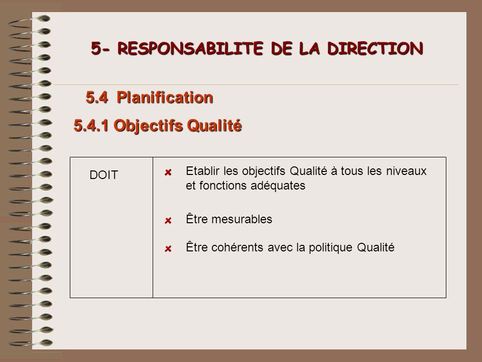 DOIT 5- RESPONSABILITE DE LA DIRECTION 5- RESPONSABILITE DE LA DIRECTION 5.4 Planification Etablir les objectifs Qualité à tous les niveaux et fonctio
