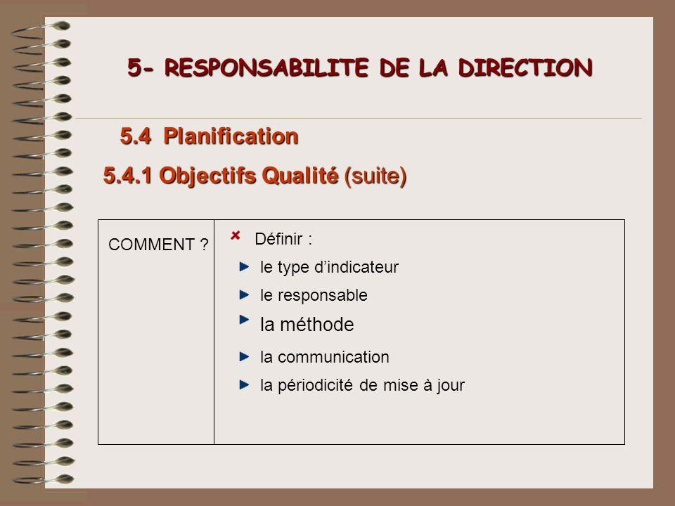 COMMENT ? 5- RESPONSABILITE DE LA DIRECTION 5- RESPONSABILITE DE LA DIRECTION 5.4 Planification Définir : le type dindicateur le responsable 5.4.1 Obj