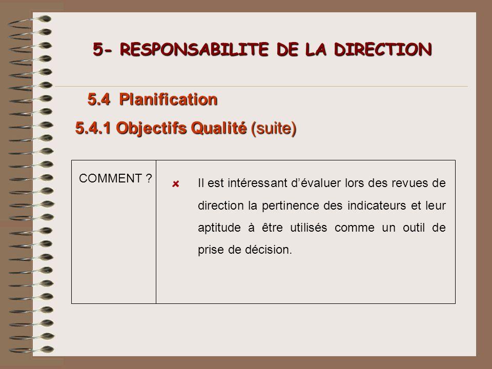 COMMENT ? 5- RESPONSABILITE DE LA DIRECTION 5- RESPONSABILITE DE LA DIRECTION 5.4 Planification Il est intéressant dévaluer lors des revues de directi