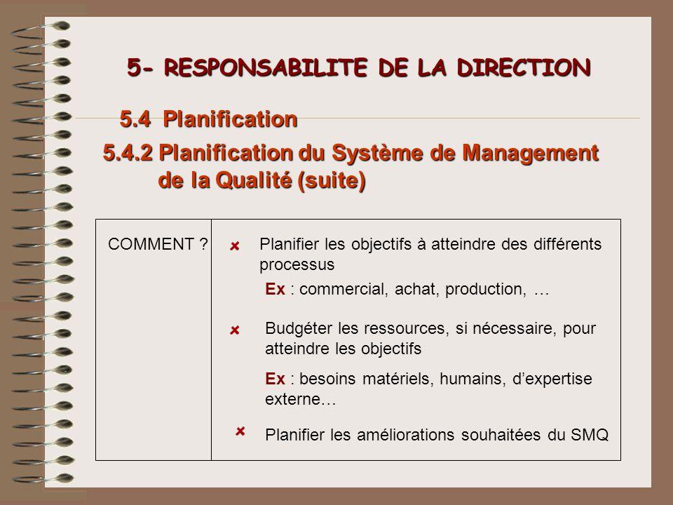 5- RESPONSABILITE DE LA DIRECTION 5- RESPONSABILITE DE LA DIRECTION 5.4 Planification 5.4.2 Planification du Système de Management de la Qualité (suit