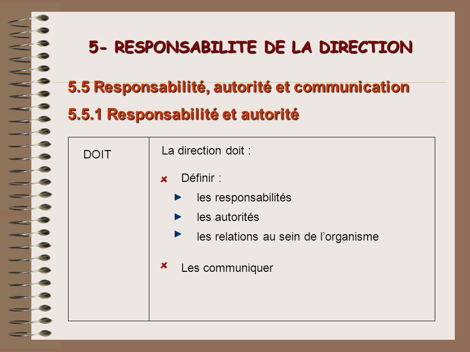 5- RESPONSABILITE DE LA DIRECTION 5- RESPONSABILITE DE LA DIRECTION les responsabilités 5.5 Responsabilité, autorité et communication Les communiquer