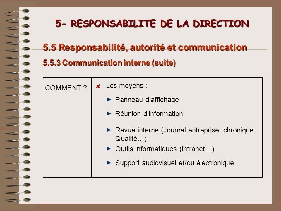 5- RESPONSABILITE DE LA DIRECTION 5- RESPONSABILITE DE LA DIRECTION 5.5 Responsabilité, autorité et communication Panneau daffichage Les moyens : COMM