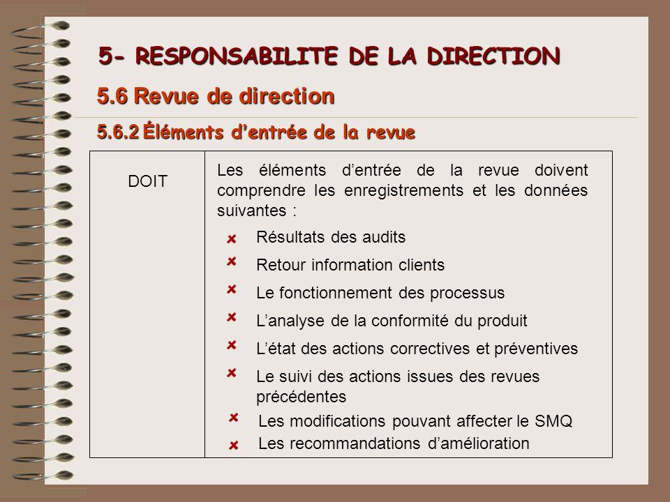 5- RESPONSABILITE DE LA DIRECTION 5- RESPONSABILITE DE LA DIRECTION 5.6.2 É l é ments d entr é e de la revue 5.6 Revue de direction Les éléments dentr