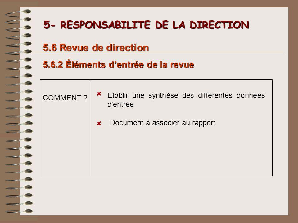 5- RESPONSABILITE DE LA DIRECTION 5- RESPONSABILITE DE LA DIRECTION 5.6.2 Éléments dentrée de la revue 5.6 Revue de direction Etablir une synthèse des