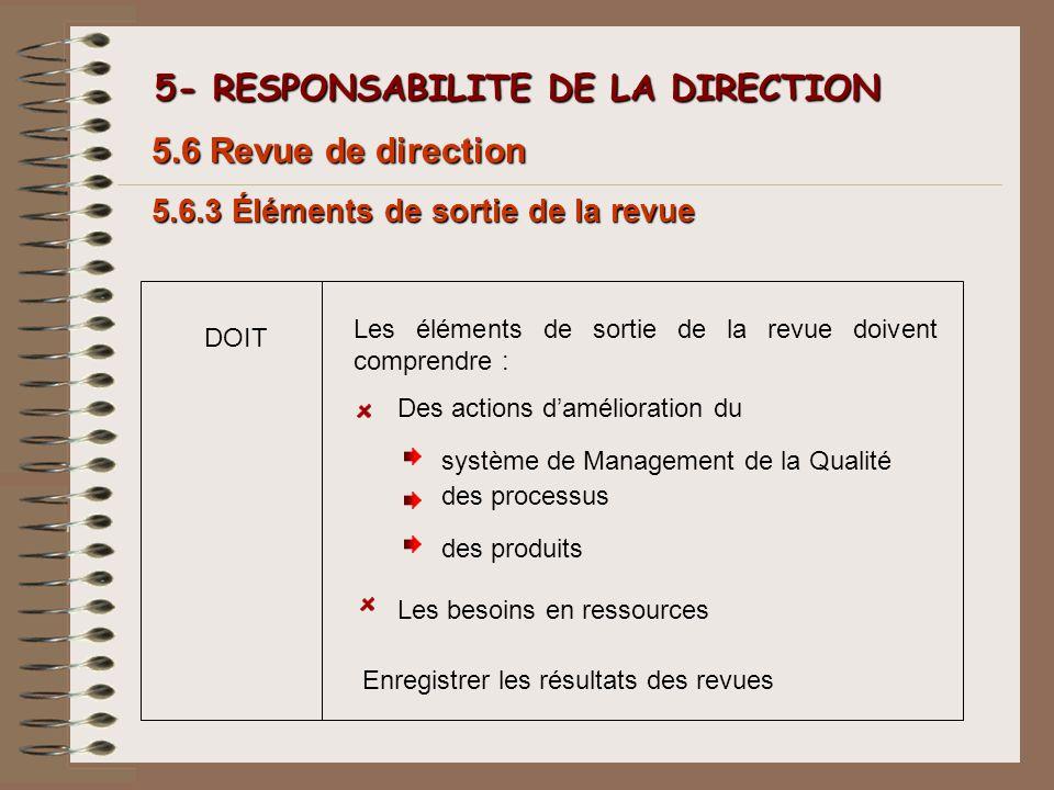 5- RESPONSABILITE DE LA DIRECTION 5- RESPONSABILITE DE LA DIRECTION 5.6.3 Éléments de sortie de la revue 5.6 Revue de direction Les éléments de sortie