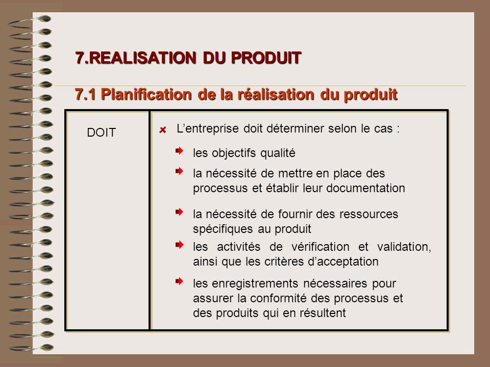 7.REALISATION DU PRODUIT 7.REALISATION DU PRODUIT 7.1 Planification de la réalisation du produit DOIT Lentreprise doit déterminer selon le cas : les a