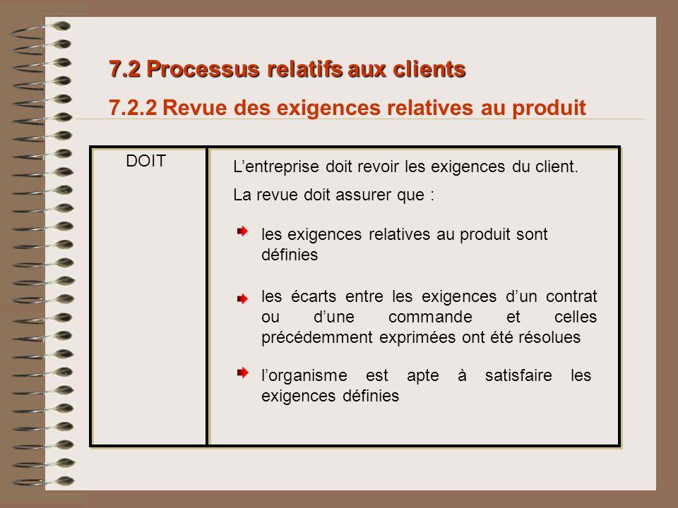 7.2 Processus relatifs aux clients 7.2.2 Revue des exigences relatives au produit DOIT Lentreprise doit revoir les exigences du client. lorganisme est