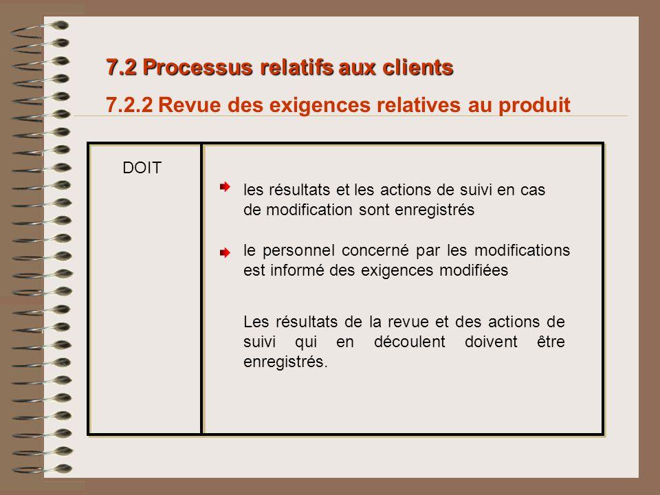 7.2 Processus relatifs aux clients 7.2.2 Revue des exigences relatives au produit DOIT Les résultats de la revue et des actions de suivi qui en découl