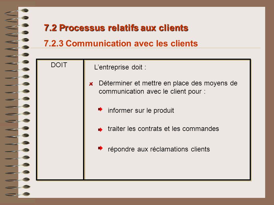 7.2 Processus relatifs aux clients 7.2.3 Communication avec les clients DOIT Lentreprise doit : répondre aux réclamations clients informer sur le prod