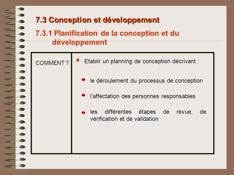 Etablir un planning de conception décrivant : laffectation des personnes responsables les différentes étapes de revue, de vérification et de validatio