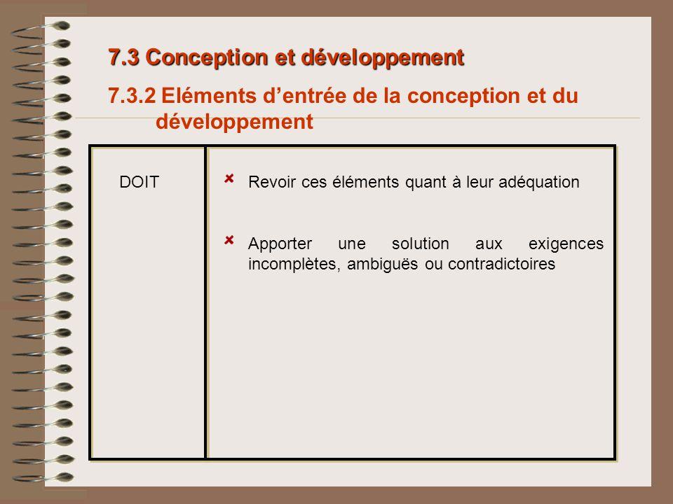 7.3 Conception et développement 7.3.2 Eléments dentrée de la conception et du développement Revoir ces éléments quant à leur adéquationDOIT Apporter u