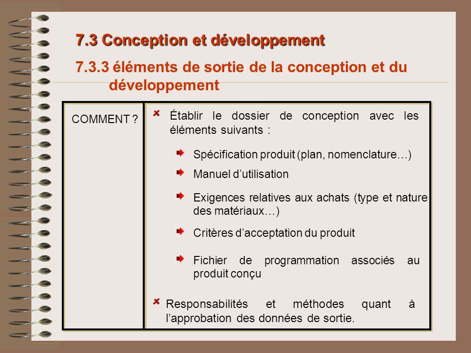 7.3 Conception et développement 7.3.3 éléments de sortie de la conception et du développement Établir le dossier de conception avec les éléments suiva