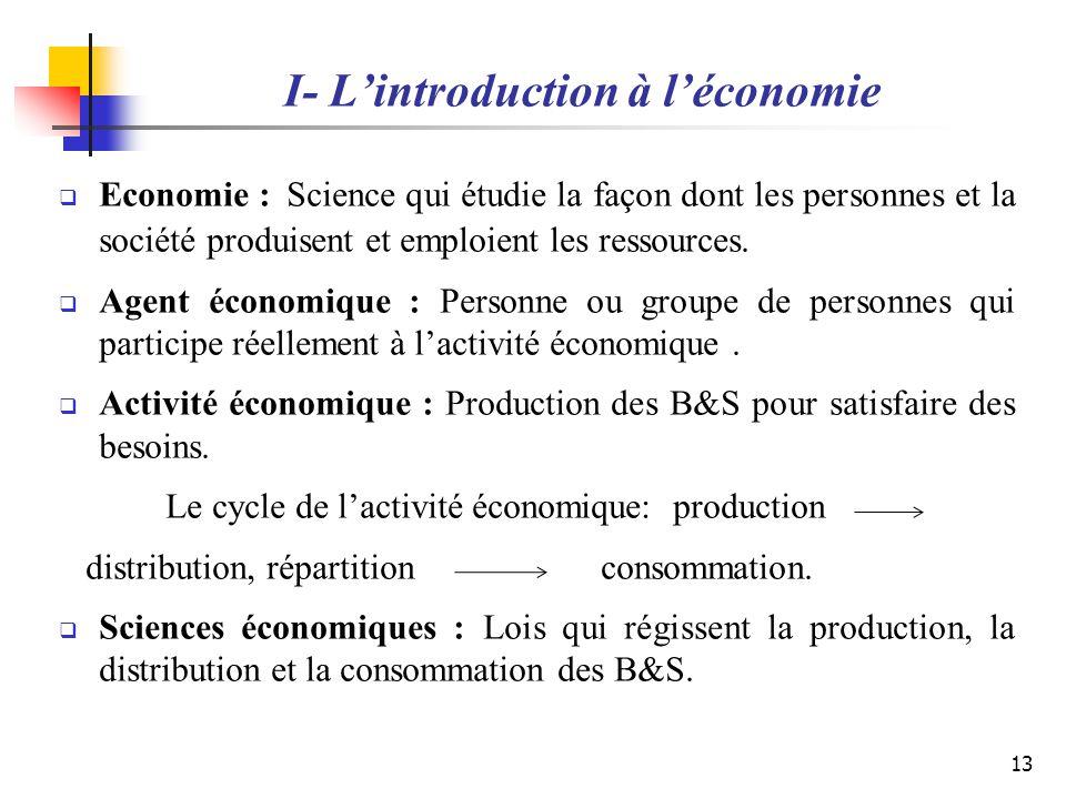 I- Lintroduction à léconomie Economie : Science qui étudie la façon dont les personnes et la société produisent et emploient les ressources. Agent éco