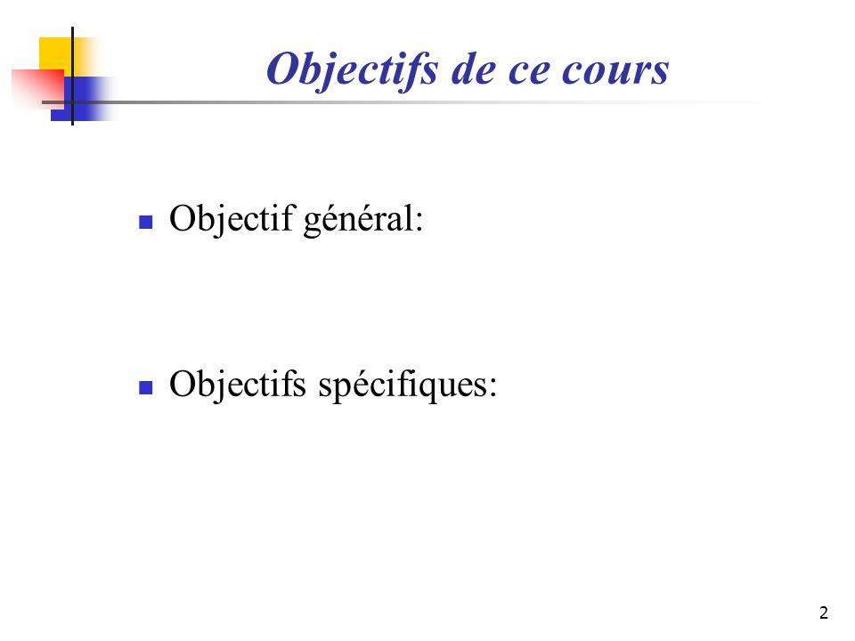 Objectifs de ce cours Objectif général: Objectifs spécifiques: 2