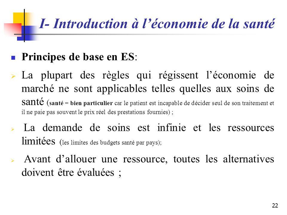 I- Introduction à léconomie de la santé Principes de base en ES: La plupart des règles qui régissent léconomie de marché ne sont applicables telles qu