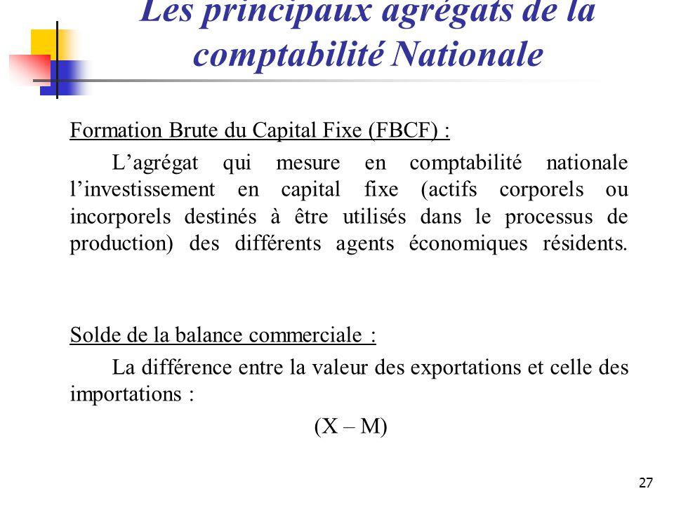 Les principaux agrégats de la comptabilité Nationale Formation Brute du Capital Fixe (FBCF) : Lagrégat qui mesure en comptabilité nationale linvestiss