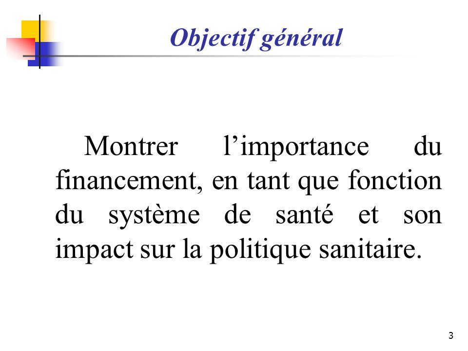 Objectif général Montrer limportance du financement, en tant que fonction du système de santé et son impact sur la politique sanitaire. 3