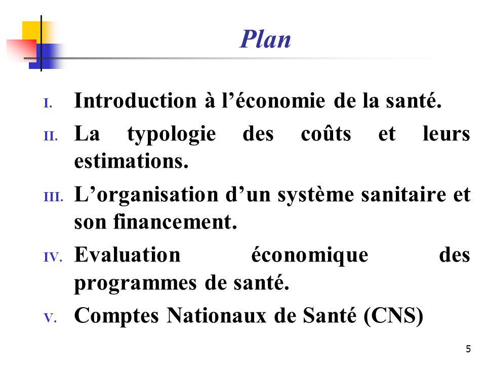 Plan I. Introduction à léconomie de la santé. II. La typologie des coûts et leurs estimations. III. Lorganisation dun système sanitaire et son finance