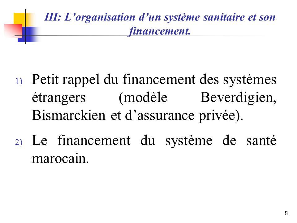III: Lorganisation dun système sanitaire et son financement. 1) Petit rappel du financement des systèmes étrangers (modèle Beverdigien, Bismarckien et