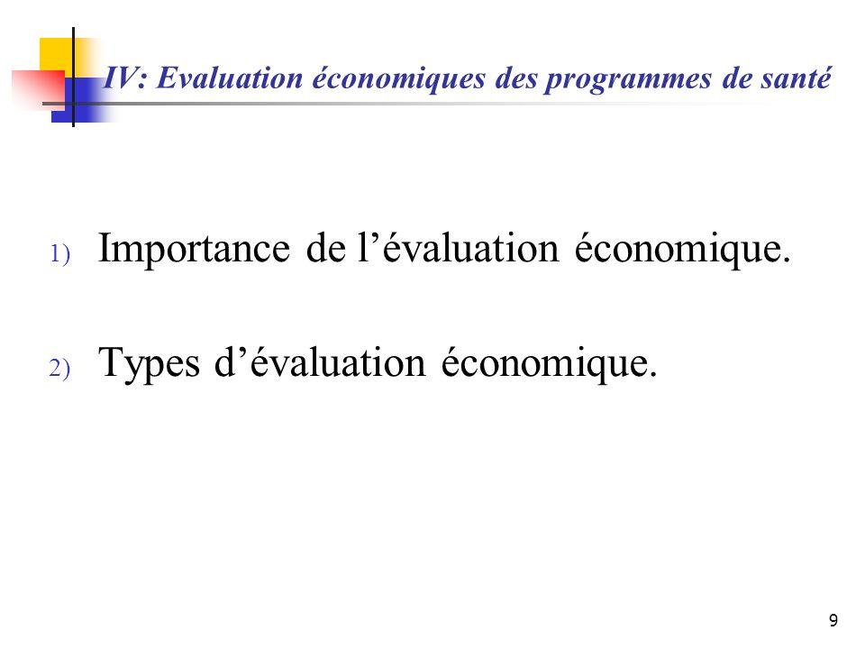 IV: Evaluation économiques des programmes de santé 1) Importance de lévaluation économique. 2) Types dévaluation économique. 9