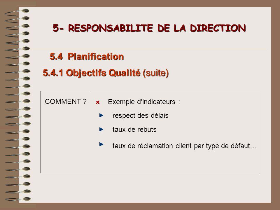COMMENT ? 5- RESPONSABILITE DE LA DIRECTION 5- RESPONSABILITE DE LA DIRECTION 5.4 Planification Exemple dindicateurs : 5.4.1 Objectifs Qualité (suite)