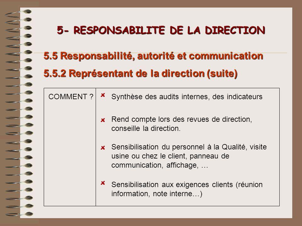 5- RESPONSABILITE DE LA DIRECTION 5- RESPONSABILITE DE LA DIRECTION Sensibilisation du personnel à la Qualité, visite usine ou chez le client, panneau