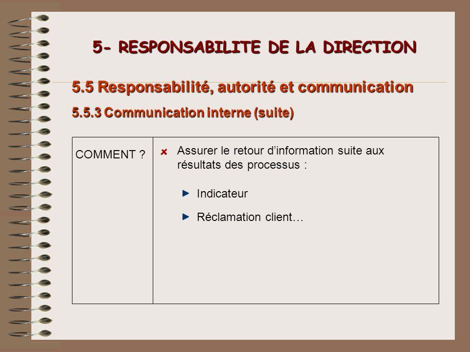 5- RESPONSABILITE DE LA DIRECTION 5- RESPONSABILITE DE LA DIRECTION 5.5 Responsabilité, autorité et communication Indicateur Assurer le retour dinform