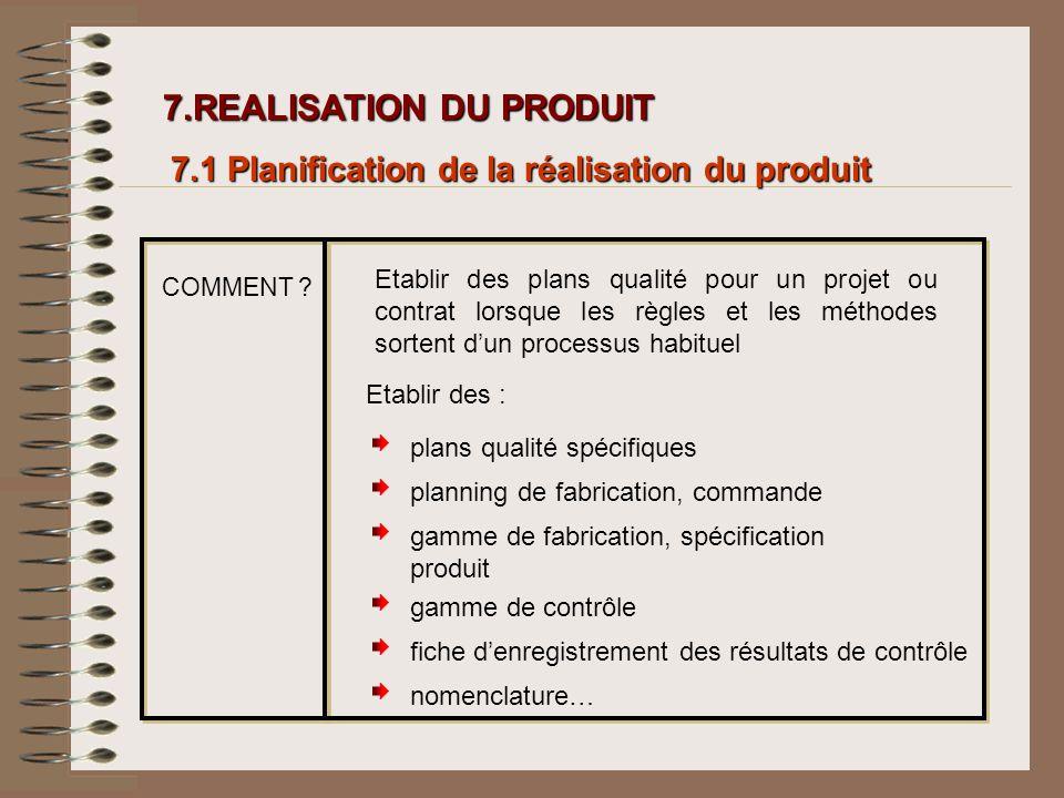 7.REALISATION DU PRODUIT 7.REALISATION DU PRODUIT 7.1 Planification de la réalisation du produit COMMENT ? Etablir des plans qualité pour un projet ou