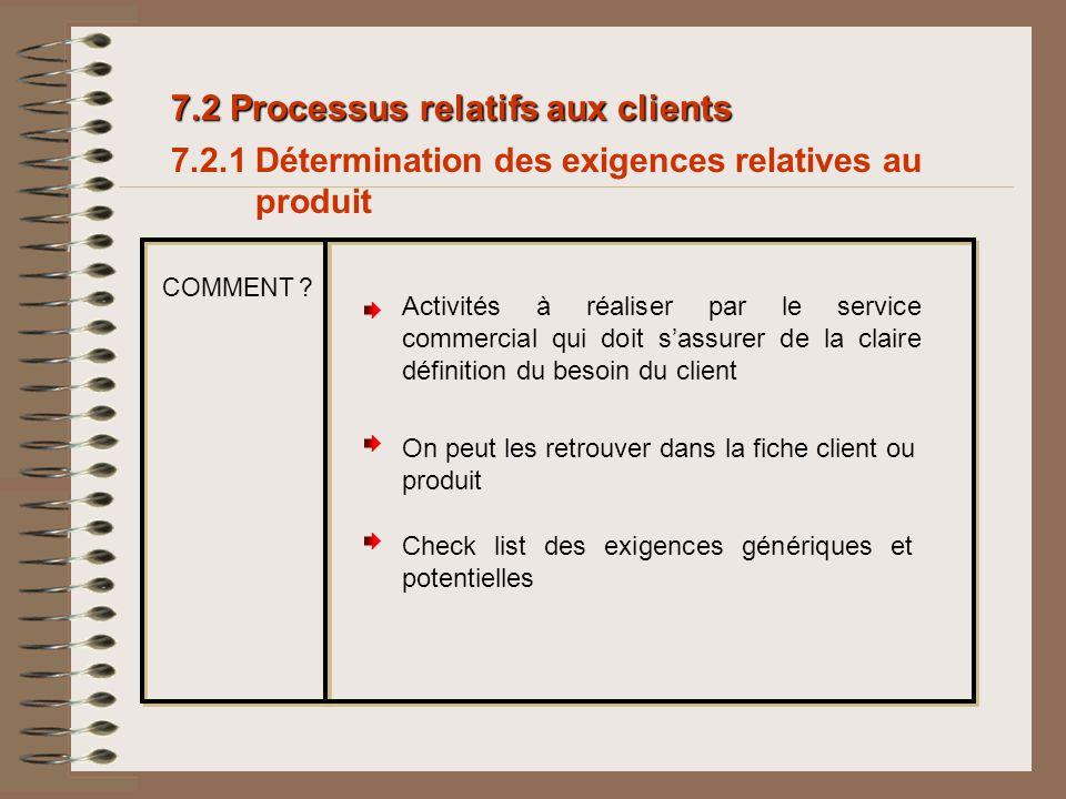7.2 Processus relatifs aux clients 7.2.1 Détermination des exigences relatives au produit Activités à réaliser par le service commercial qui doit sass