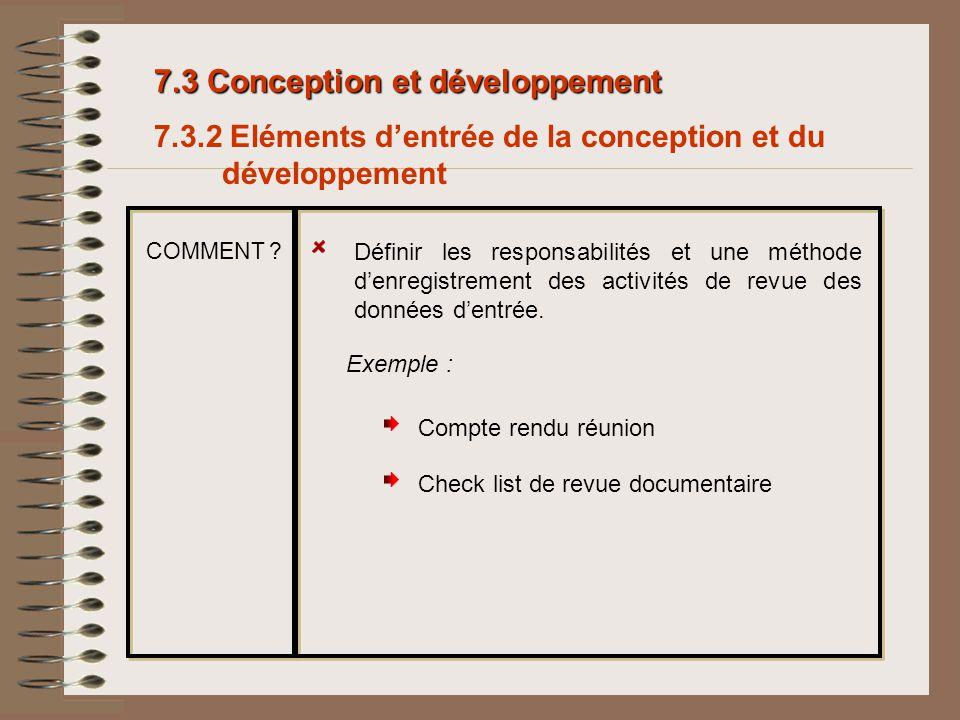 7.3 Conception et développement 7.3.2 Eléments dentrée de la conception et du développement Définir les responsabilités et une méthode denregistrement