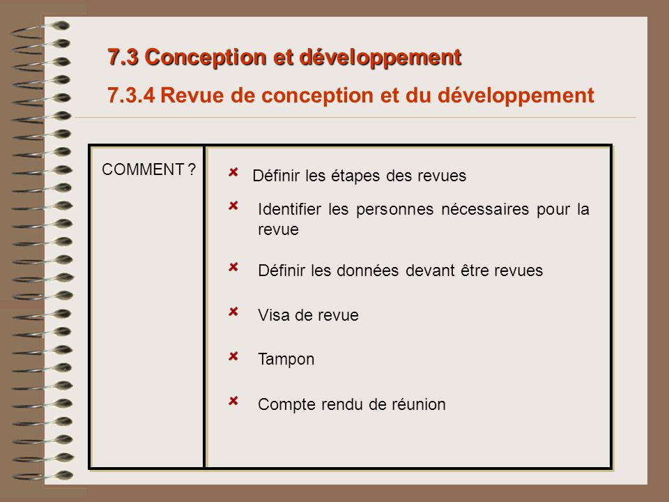 7.3 Conception et développement 7.3.4 Revue de conception et du développement Définir les étapes des revues Identifier les personnes nécessaires pour