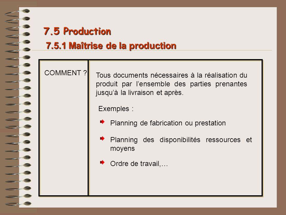 7.5.1 Maîtrise de la production 7.5 Production COMMENT ? Tous documents nécessaires à la réalisation du produit par lensemble des parties prenantes ju